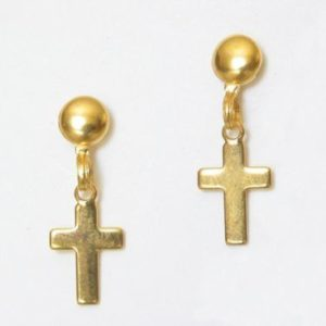 Gold Cross with Ball Post Earrings – JA160