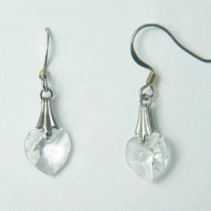Silver Clear Crystal Heart Earrings – JA174-B