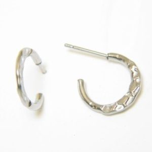 Silver Hammered Hoop Earrings – JA253