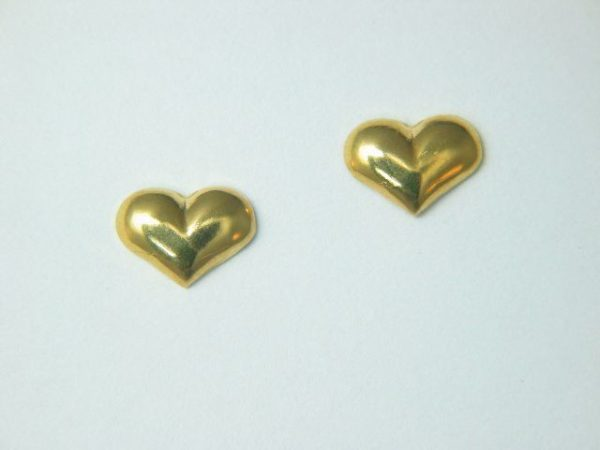 Gold Wide Solid Heart Earrings – JA267