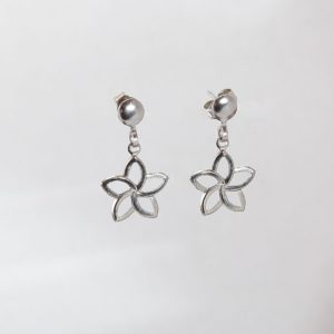 Silver Star Flower Earrings on Silver Ball Post – JA285-A