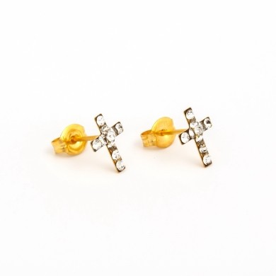 Gold Plated Cross with April Crystal Earrings – S3604STX
