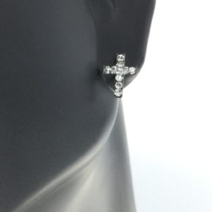 Stainless Steel Cross with April Crystal Earrings – S3604WSTX