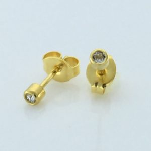 Gold Plated 2MM April Crystal Bezel Stud Earrings – S504STX