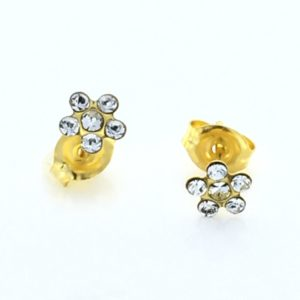 Gold Plated Daisy Crystal Earrings – S6004STX