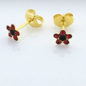 Studex Gold Plated Daisy July Ruby Jet Earrings for Sensitive Ears
