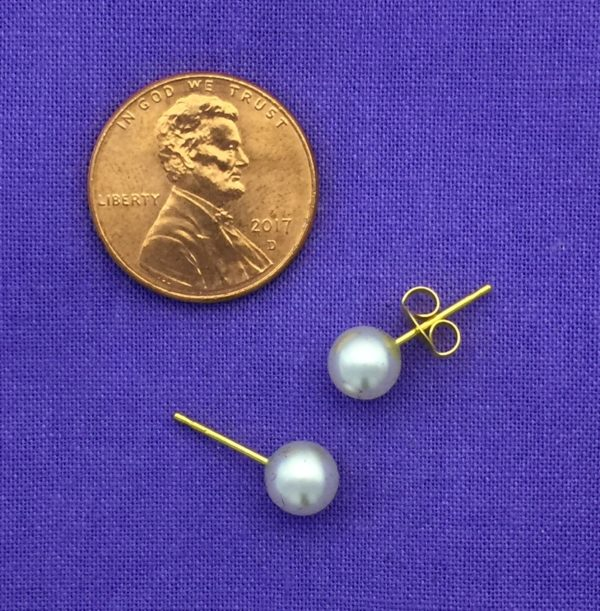 Gold Plated 6MM Simulated White Pearl Earring – S676STX