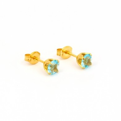 Gold Plated 5MM March Aquamarine 4-Prong Stud Earrings – S783STX
