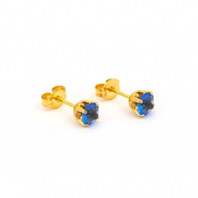 Gold Plated 5MM September Sapphire 4-Prong Stud Earrings – S789STX