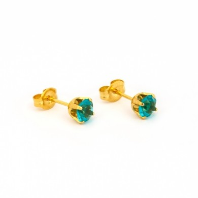 Gold Plated 5MM December Blue Zircon 4-Prong Stud Earrings – S792STX