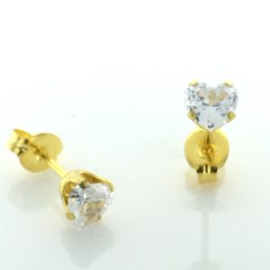 Earrings for Sensitive Ears | Gold Plated 5x5mm Cubic Zirconia Heart Cut Earrings