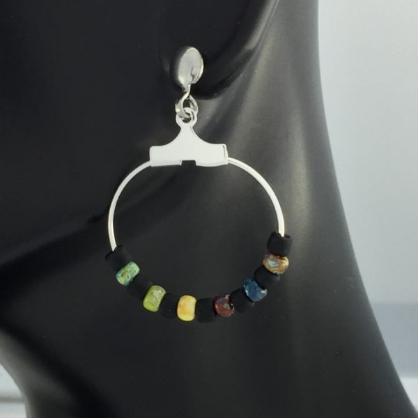 Picasso Black and Color Hoop Earrings – JSD072