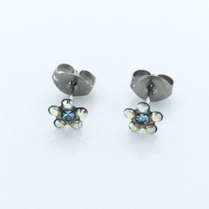 Stainless Steel Daisy AB Crystal March Aquamarine Earrings – S6153WSTX