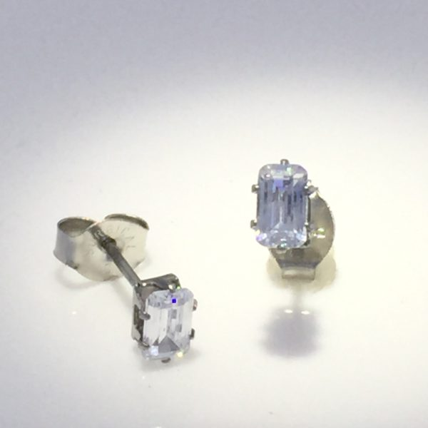 5x3mm Emerald-Cut Cubic Zirconia Silver Earrings – JAZ467S