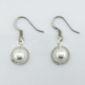 Silver Saturn And Pearl Earrings – JCL069