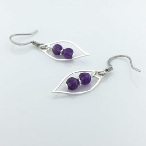 Purple Amethyst in Silver Marquis Frame Earrings – JCL088
