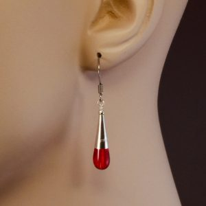 Sterling Silver Cone with Red Glass Teardrop Earrings – JCL127